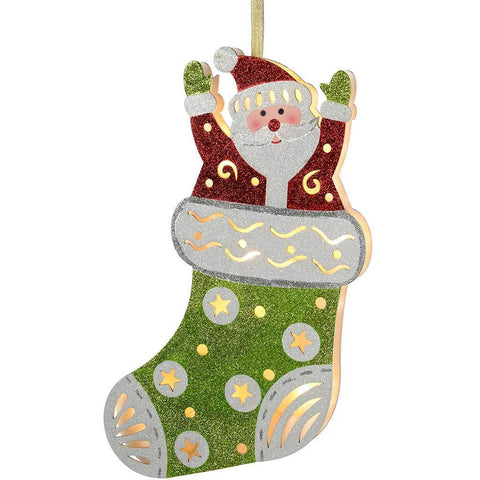 Pre-Lit Santa in Stocking Hanging Christmas Decoration, 44 cm - Multi-Colour