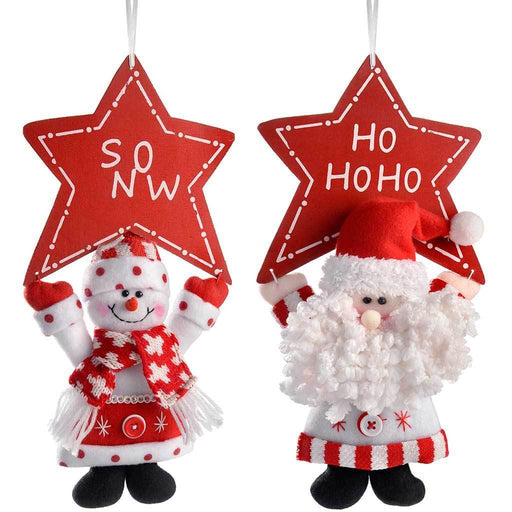 Hanging Santa and Snowman Holding Star, 30 cm - Multi-Colour, Set of 2