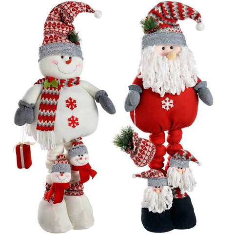 Extendable Free Standing Santa and Snowman, 99 cm - Multi-Colour, Set of 2