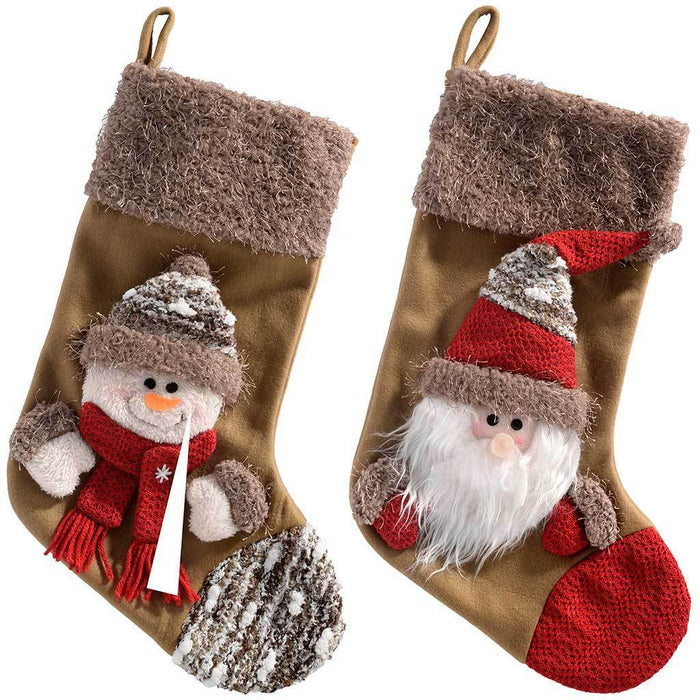 48 cm Santa and Snowman Christmas Stocking Decoration - Brown, Set of 2