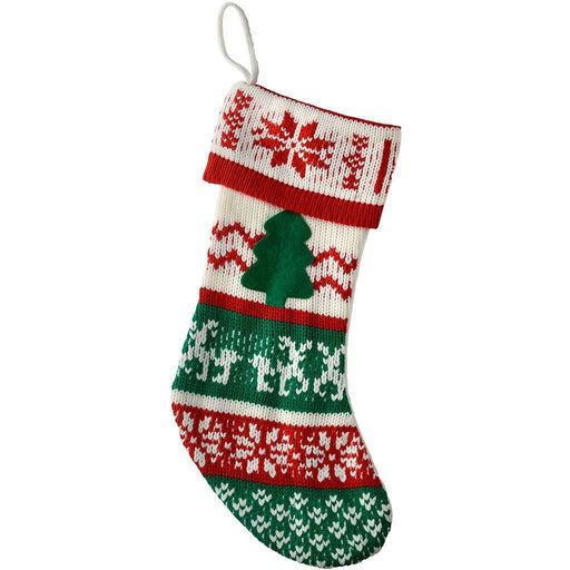Knitted Christmas Stocking, 47 cm - Red/Green