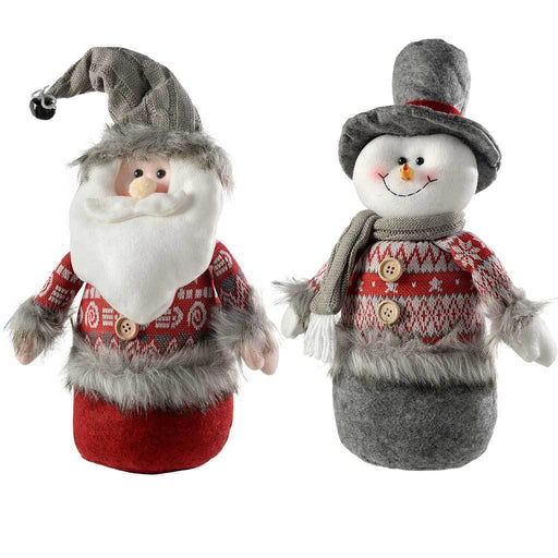 Santa Snowman Christmas Table Decorations, Grey/Red, 40 cm, Set of 2