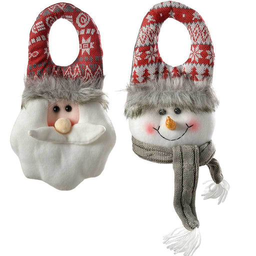 Santa & Snowman Door Hangers Christmas Decorations, Grey/Red, 23 cm, Set of 2