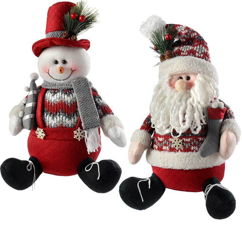Sitting Santa Snowman Christmas Decorations, Red/Grey, 30 cm, Set of 2