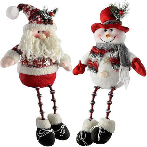 Sitting Santa Snowman with Button Legs Christmas Decorations, Red/Grey, 41 cm, Set of 2