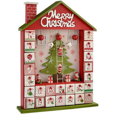 Wooden House Advent Calendar Christmas Decoration, 37 cm - Red