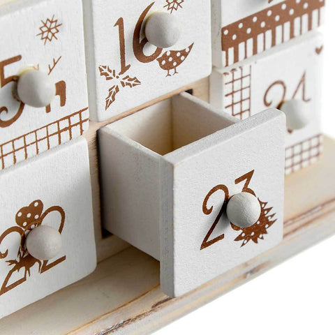 Wooden Tree Advent Calendar Christmas Decoration, 40 cm - Natural Beige