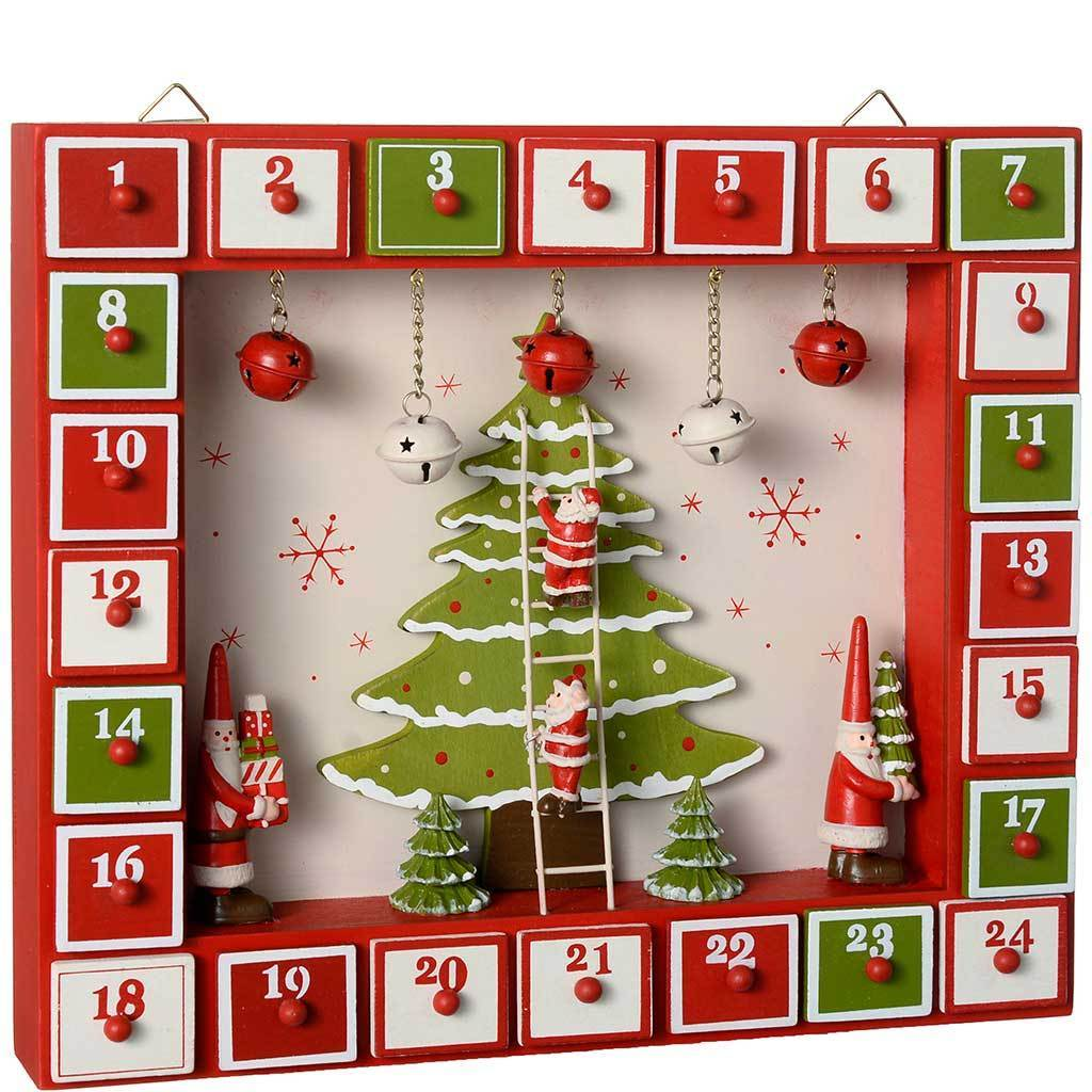 Christmas Tree House Advent Calendar Decoration, 27 cm - Multi-Colour