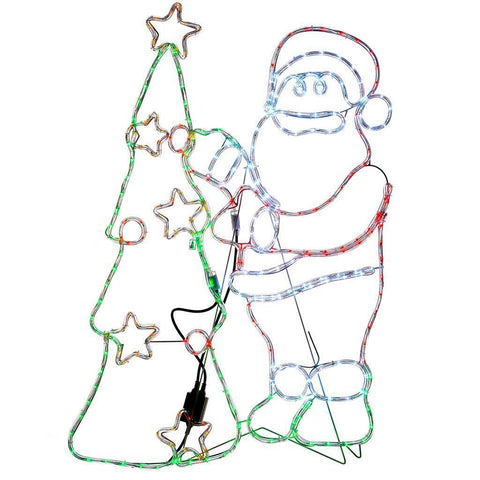 Pre-Lit Animated Santa and Tree Rope Light Silhouette, 111 cm - Large, Multi-Colour