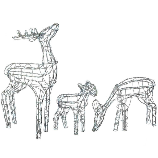 Pre-Lit Reindeer Family Outdoor Garden - Large, Bright White