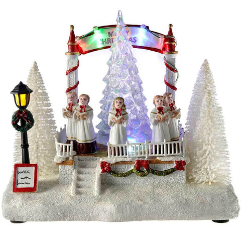 Pre-Lit LED Choir Christmas Scene with Rotating Tree Decoration, 20 cm