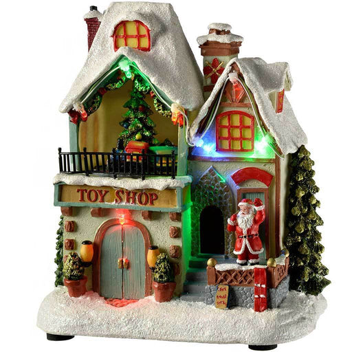 Pre-Lit LED Christmas House Christmas Scene with Rotating Tree Decoration, 17 cm