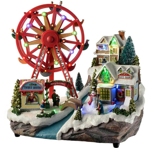 Pre-Lit LED Animated Christmas Village Scene with Rotating Ferris Wheel, 36 cm
