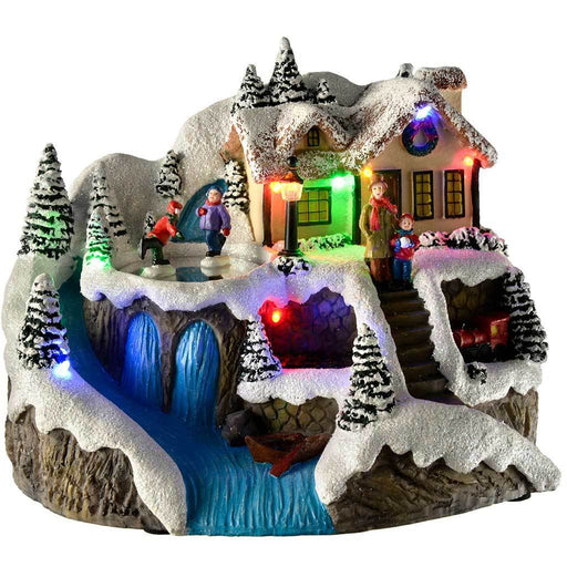 Pre-Lit LED Christmas House Scene with Rotating Skating Children, 22 cm