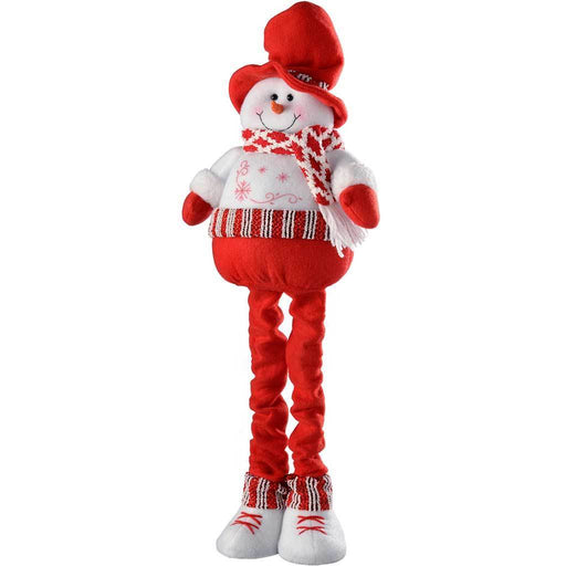 Free Standing Christmas Snowman Decoration with Extendable Legs, 45 cm - Multi-Colour