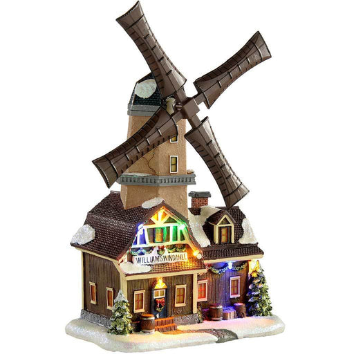 animated musical rotating windmill christmas decoration multi colour 31 cm - Animated Christmas Scenes