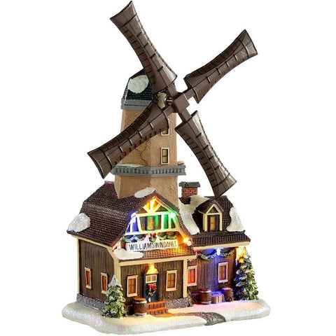 Animated Musical Rotating Windmill Christmas Decoration, Multi-Colour, 31 cm