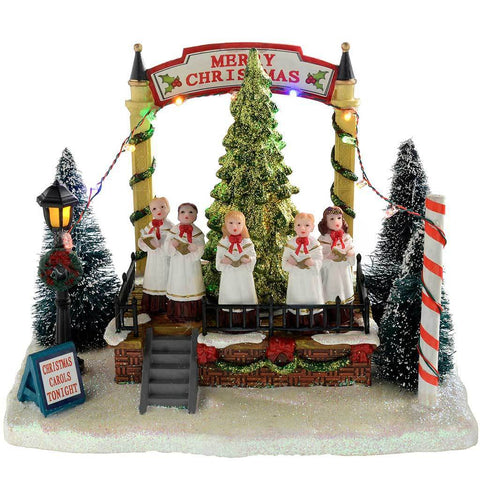 Musical Singing Choir with Rotating Tree Christmas Decoation, Multi-Colour, 21 cm