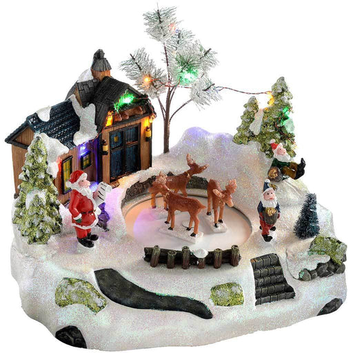 Animated Musical Santas House with Rotating Deer, Multi-Colour, 28 cm
