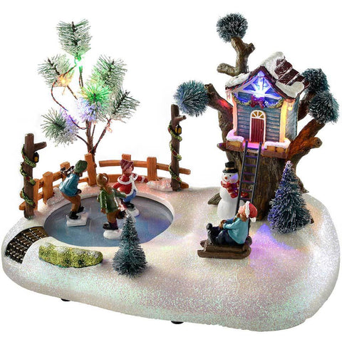 Animated Musical Park with Skating Kids Christmas Decoration, Multi-Colour, 25 cm