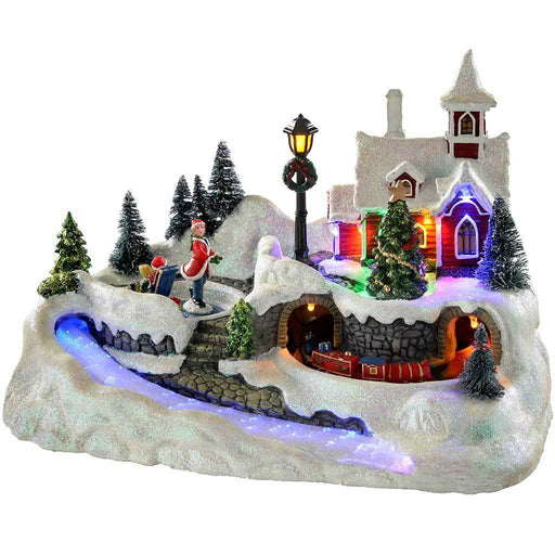 Animated Musical Village with Skaters & Moving Train, Multi-Colour, 31 cm