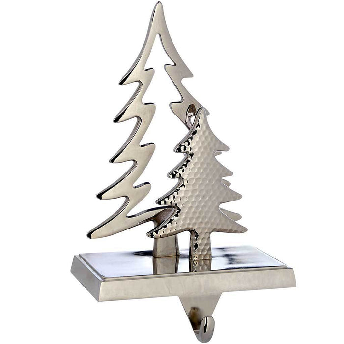silver plated christmas tree stocking holder decoration metal 19 cm - Silver Plated Christmas Tree Decorations