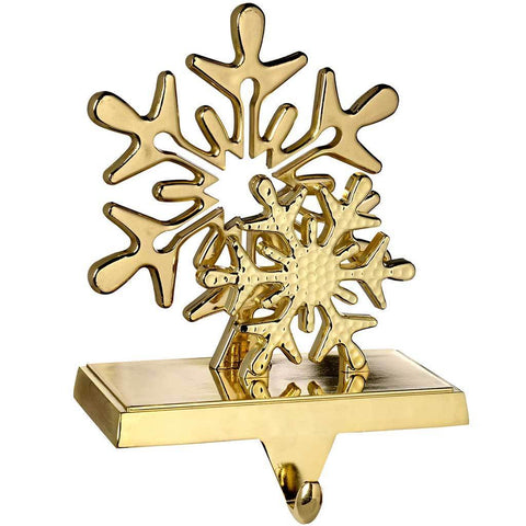 Gold Plated Snowflake Stocking Holder Christmas Decoration, 17 cm, Metal