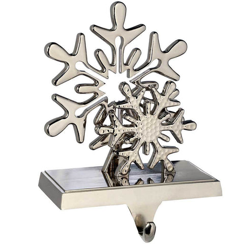 Silver Plated Snowflake Stocking Holder Christmas Decoration, Metal, 17 cm