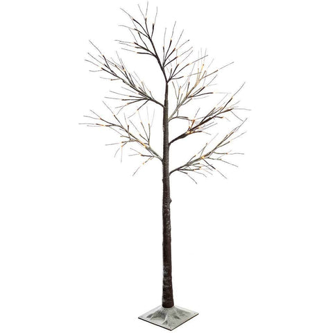 6ft Pre-Lit LED Twig Tree with Snow Christmas Decoration, Warm White