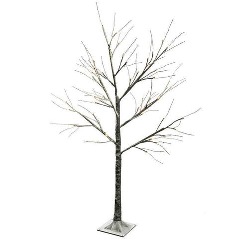 Pre-Lit LED Tree with Snow Christmas Decoration, 4 ft/1.2 m - Brown/Warm White