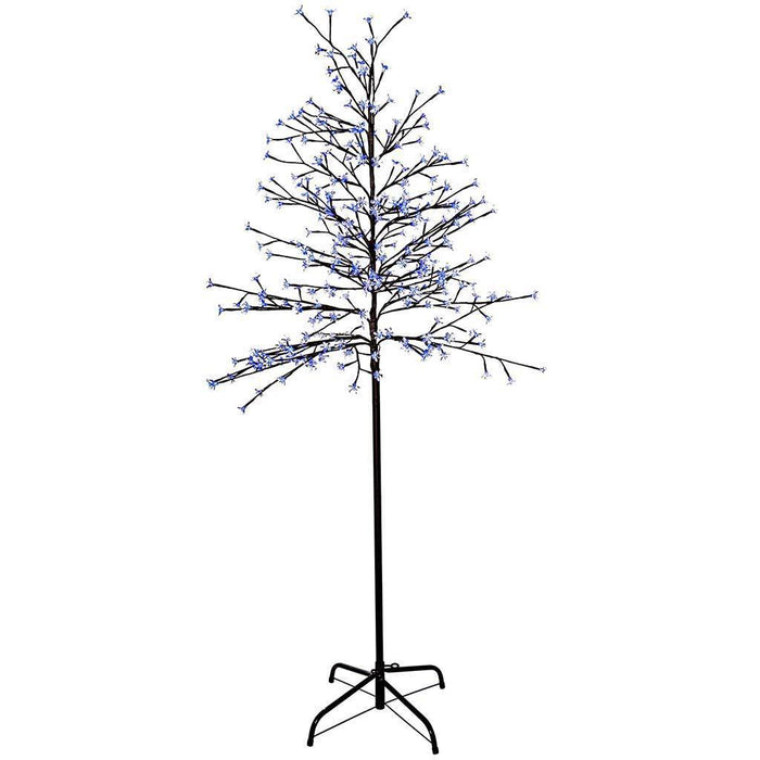 Pre-Lit Flashing Illuminated Cherry Blossom Tree with 300-LED, 6 ft/1.8 m - Blue/White