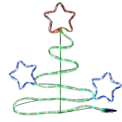 Christmas Tree Flashing Stars Silhouette Decoration with Colour LED Lights, 52 cm