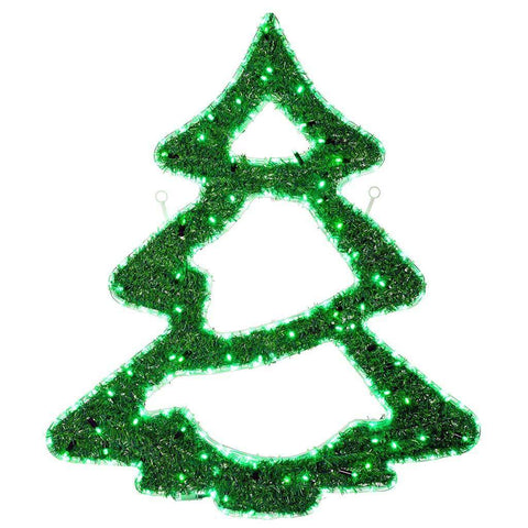 89 cm Large Christmas Tree Flashing Silhouette Decoration with Green LED Lights Display