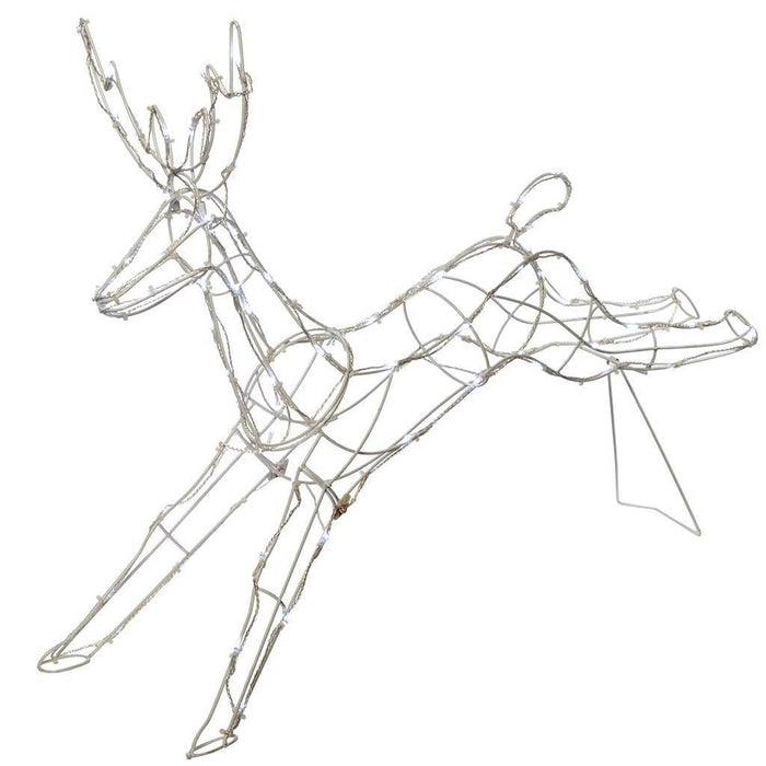 95 cm Large Jumping Reindeer 80 LED Lights Silhouette Outdoor Garden Christmas Decoration