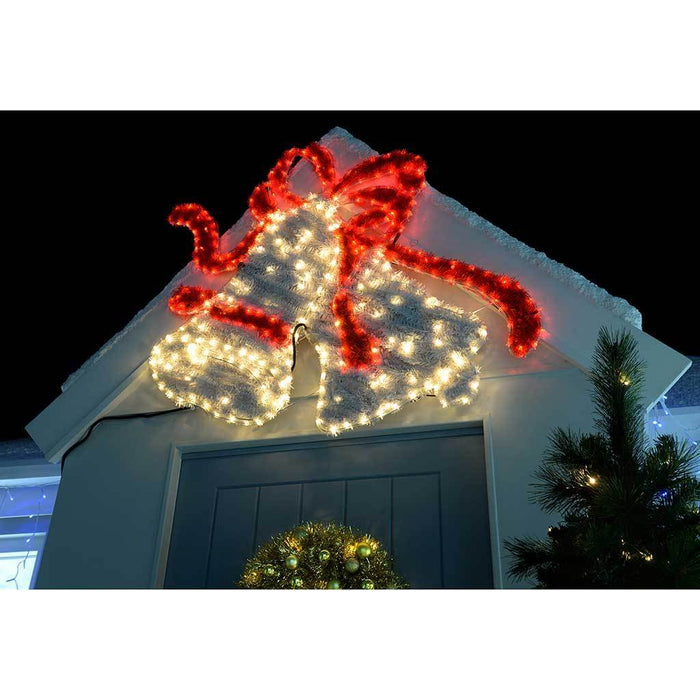 113 cm large bells led rope lights and tinsel silhouette outdoor garden wall christmas decoration