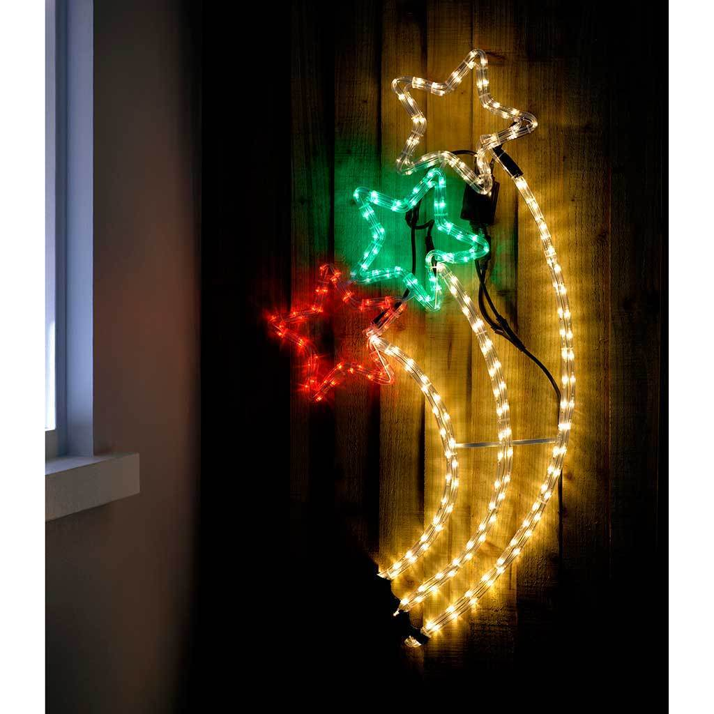 Chasing Shooting Star Rope Lights Silhouette Christmas Decoration - 92 cm, Multi Colour