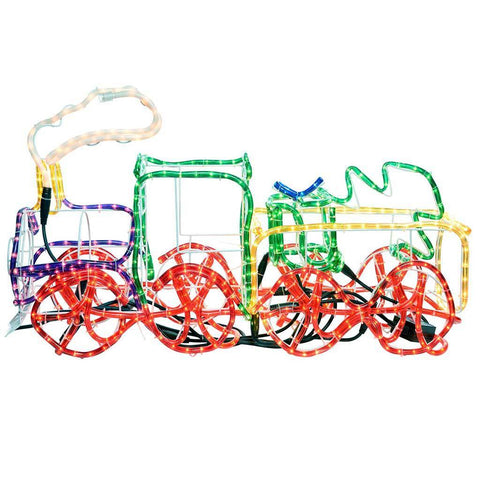 95 cm Large 3D Train with Flashing Wheel and Smoke Rope Lights Silhouette Outdoor Garden Christmas Decoration