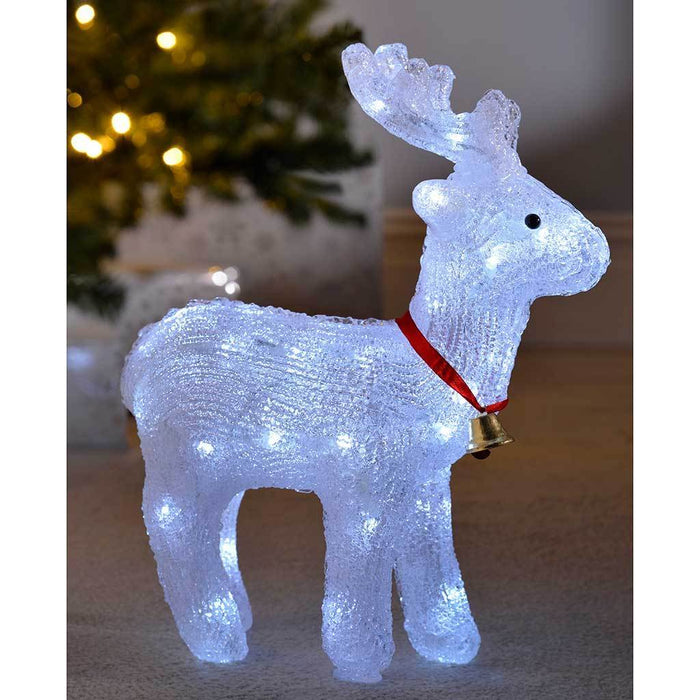 38 cm Acrylic Reindeer 40 White LED Silhouette Outdoor Garden Christmas Decoration