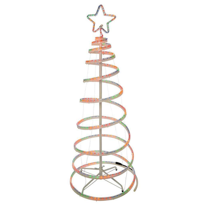 5 ft Flashing 3D Spiral Christmas Tree Rope Light Silhouette, Multi-Colour
