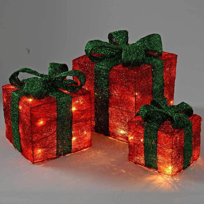Gift Box Silhouette with 35 Warm White LED Lights and Tinsel - Red, Set of 3