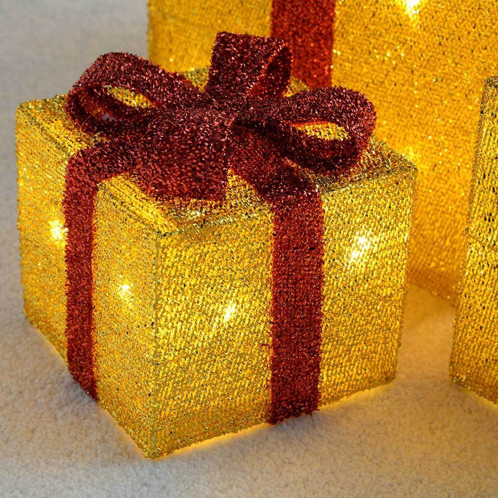 Gift Box Silhouette with 35 Warm White LED Lights and Tinsel Christmas Decoration, Set of 3, Gold
