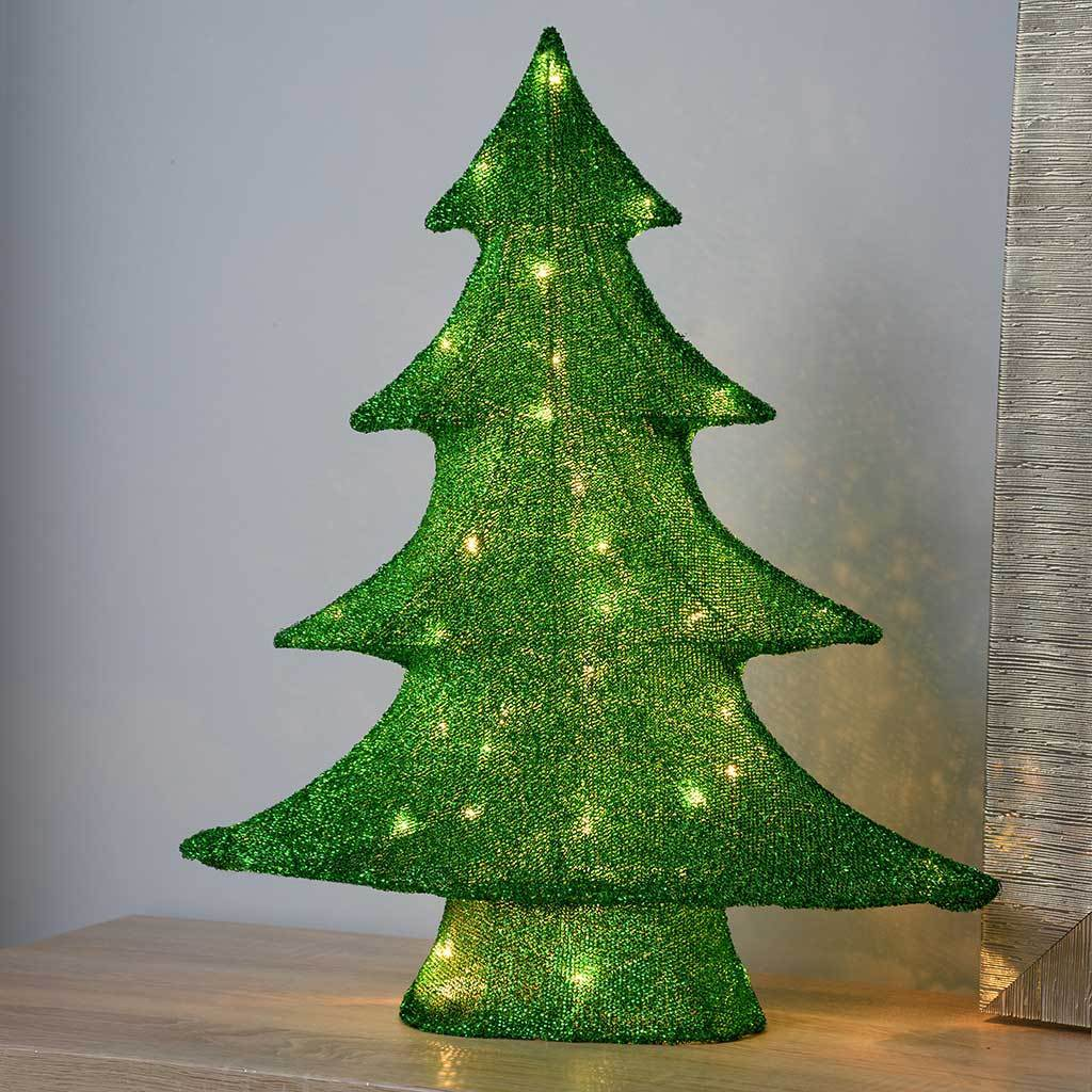 Christmas Tree with Tinsel Decoration and Warm White LED Lights, 62 cm - Large