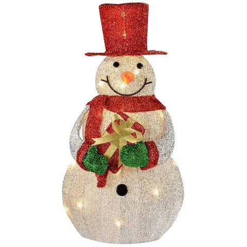 Snowman Silhouette with Warm White LED Lights and Tinsel, 60 cm - Large