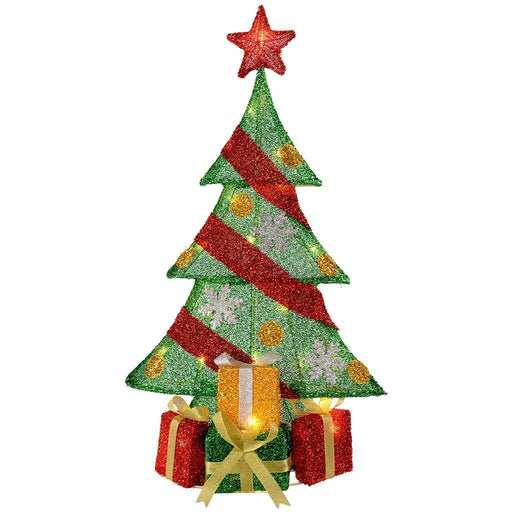 Christmas Tree and Gifts Silhouette with Warm White LED Lights and Tinsel, 74 cm - Large