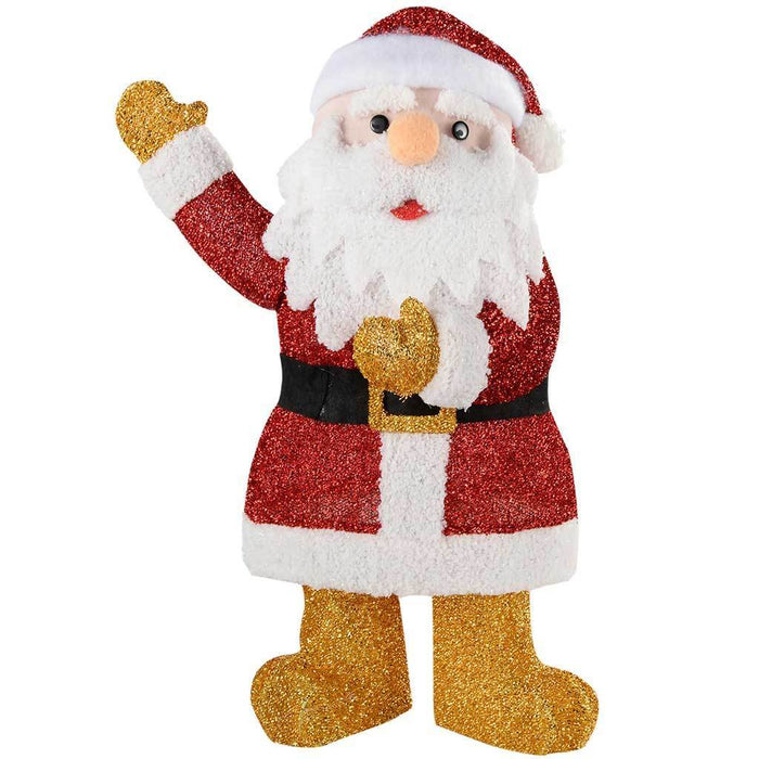 Waving Santa Silhouette with Warm White LED Lights and Tinsel, 61 cm - Large
