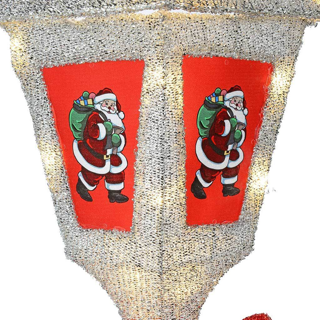 Pre-Lit Victorian Style Christmas Lamp Post with Warm LED Lights, 5 ft - Large, White