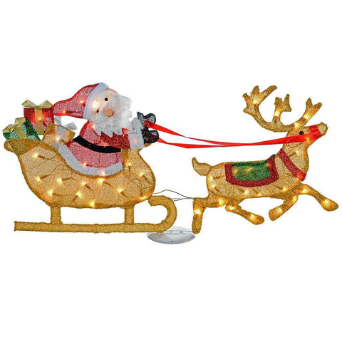 Pre-Lit Santa and Sleigh Silhouette with 50 Warm White Lights and Tinsel, 125 cm