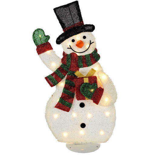 Pre-Lit Snowman Silhouette with 35 Warm White Lights and Tinsel, 82 cm - Large