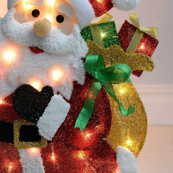 Pre-Lit Santa Silhouette with 35 Warm White Lights and Tinsel, 82 cm - Large