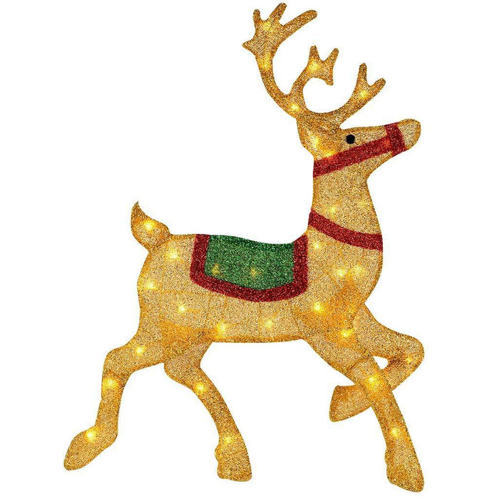 85 cm Large Pre-Lit Reindeer Silhouette with 35 Warm White Lights and Tinsel